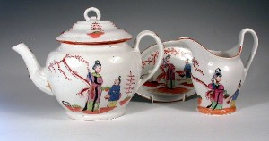Chamberlains Worcester teapot, stand and milk jug