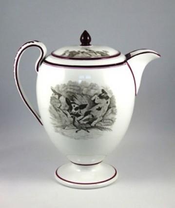 Spode bone china coffee pot, bat printed pattern 557