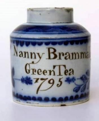 Pearlware tea canister, Swinton, 1795