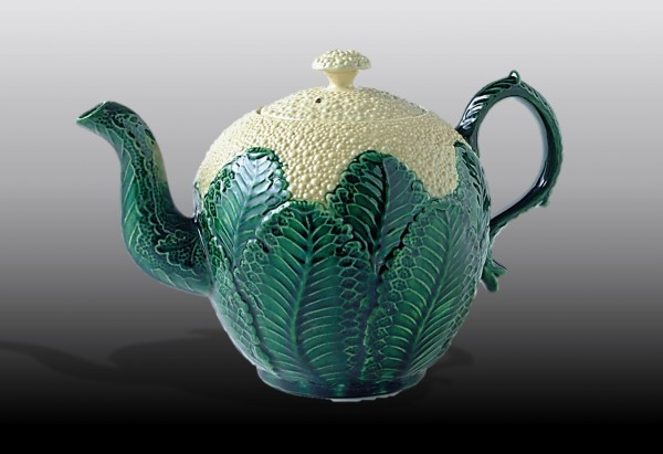 Cauliflower teapot in the style of 18th century Staffordshire made in 20th century