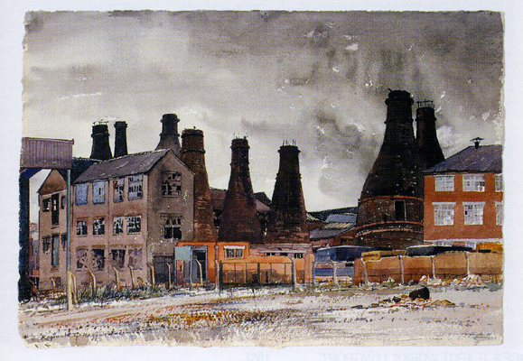 The Gordon Pottery, Tunstall - a watercolour by Reginald Haggar, the first NCS President